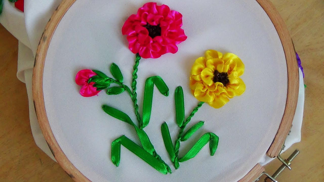 Hand Embroidery Ruffle Stitch (Ribbon Work) - YouTube