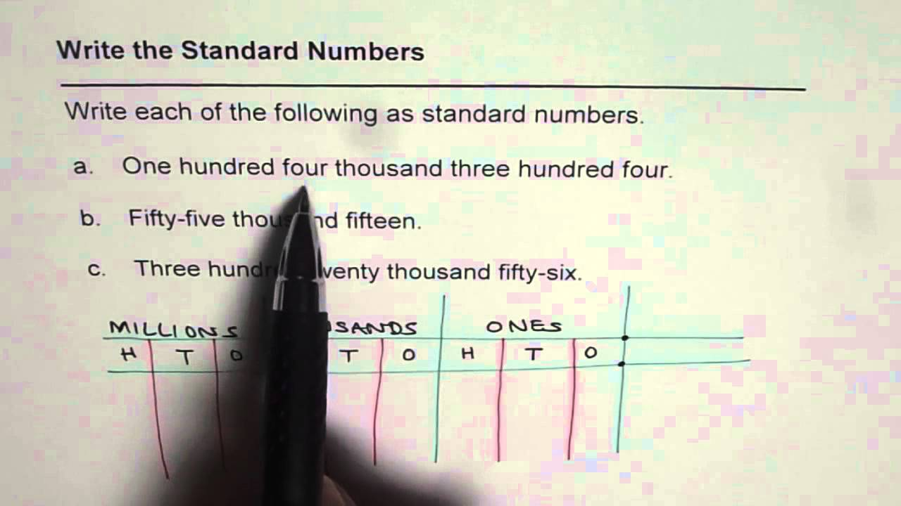 Write Numbers In Standard Form For Thousand Place Value Youtube