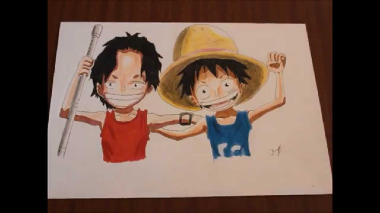 Speed Drawing One Piece Portgas D Ace Monkey D Luffy Kids