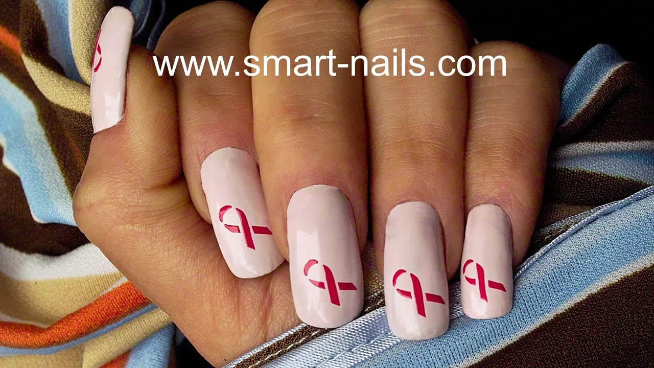 How To Make A Breast Cancer Awareness Ribbon Nail Art With Smart