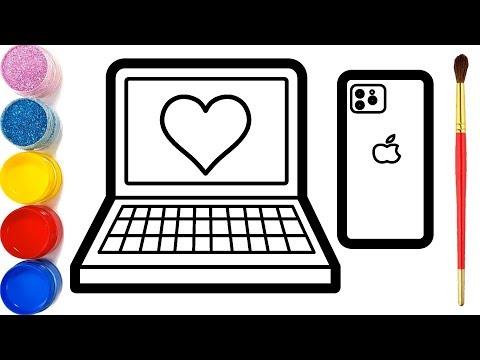 Glitter Laptop & Iphone Drawing and Coloring | vẽ và tô màu máy tính điện thoại | Halaman Mewarnai