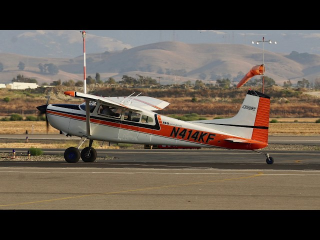 1980 Cessna 180 N414KF c/n 180-53147 taking off at Livermore Airport California 2018.