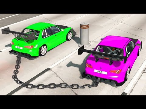 Download Chained Cars vs Bollards #1! BeamNG drive Compilation! Beam NG Crashes! BNG Mods!