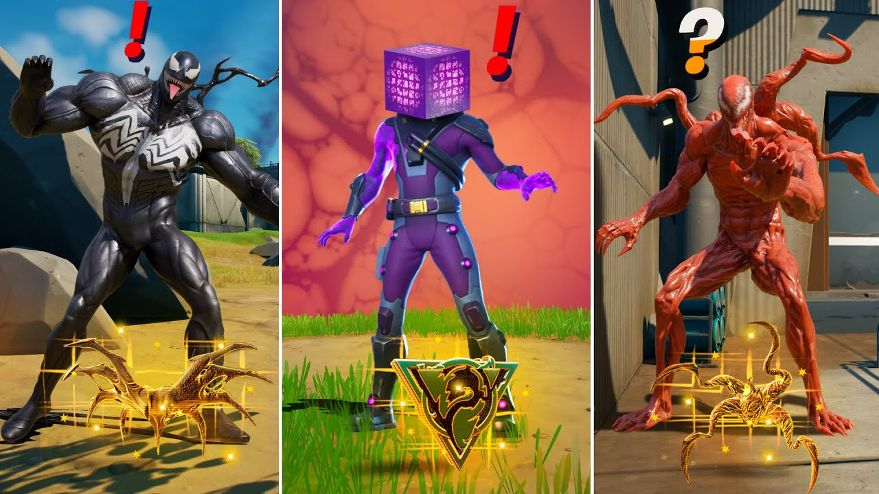 Fortnite All New Bosses, Vault Locations & Mythic Weapons, KeyCard Boss Carnage, Venom, Gold Cube