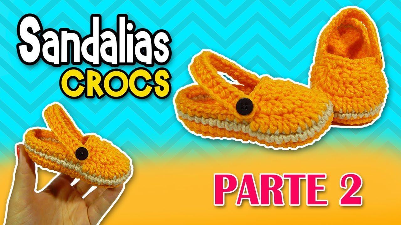 8e9b4e440e9 Sandalias tipo CROCS tejidas a crochet o ganchillo PASO A PASO ... tutos  crocs