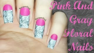NAIL ART TUTORIAL: Pink And Gray Floral Half Moon Manicure | 2 Looks In One | Nail Stamping