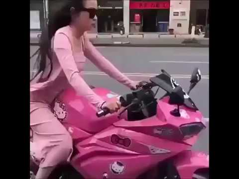 Girlie Riding Hello Kitty Pink Motorcycle To Vroom Vroom By CharliXCX