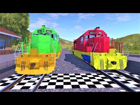 Гонки на цветных поездах и Синий поезд чемпион - Мультики для мальчиков 2019