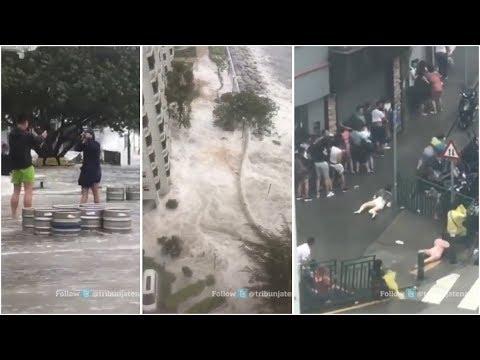 BREAKING NEWS, Orang-orang Berjatuhan Tersapu Dahsyatnya Badai di Hongkong