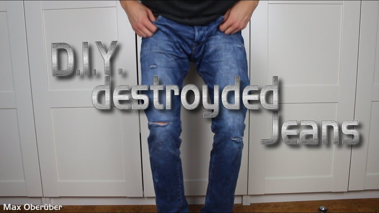diy coole destroyded jeans selber machen youtube. Black Bedroom Furniture Sets. Home Design Ideas