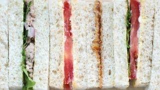3 Tea Sandwich Recipes - Tomato; Tuna; Peanut Butter & Jelly 샌드위치 만들기