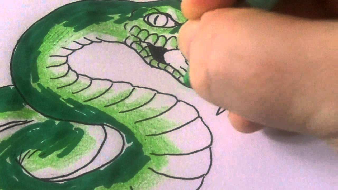 Colouring A Snake Tattoo Drawing With Crayola Youtube
