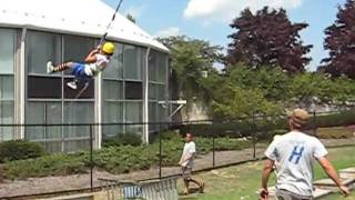 Victoria on the Slingshot at Hofstra Adventure Camp