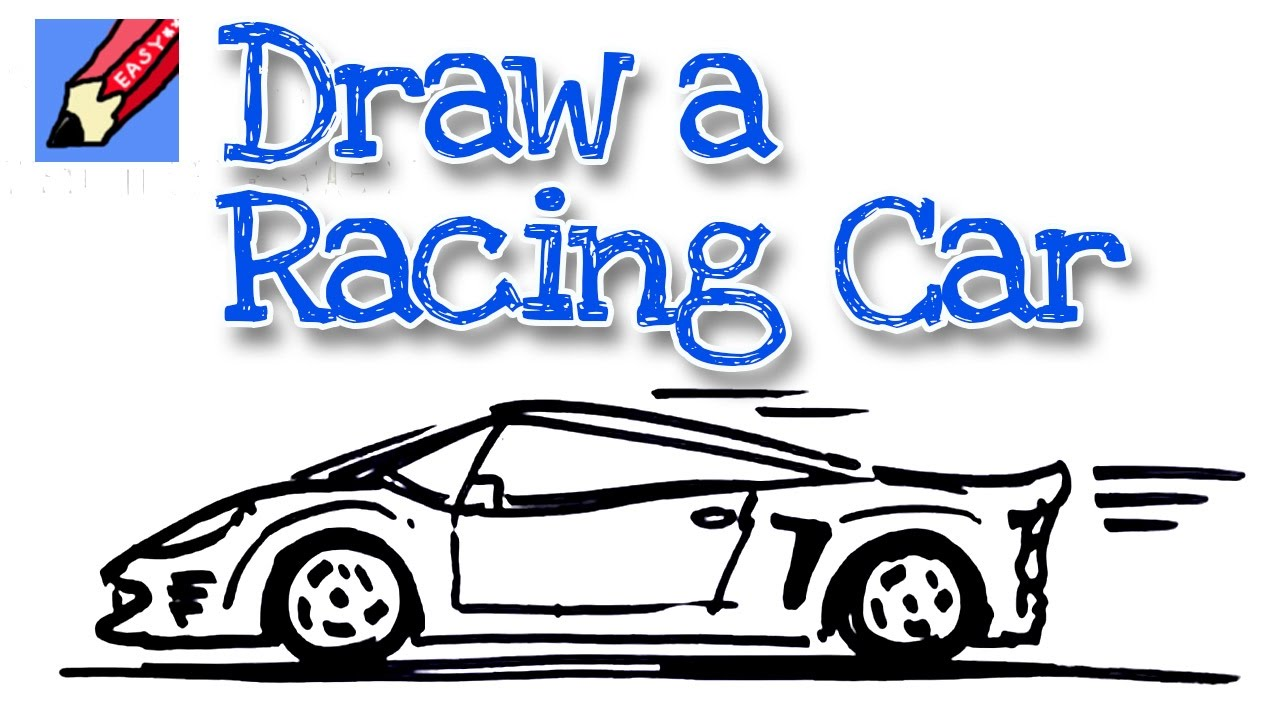How to draw sports car real easy - for kids and beginners - YouTube