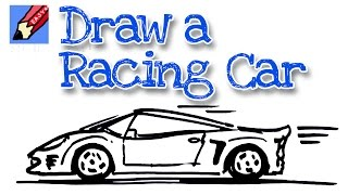 How to draw sports car real easy -  for kids and beginners