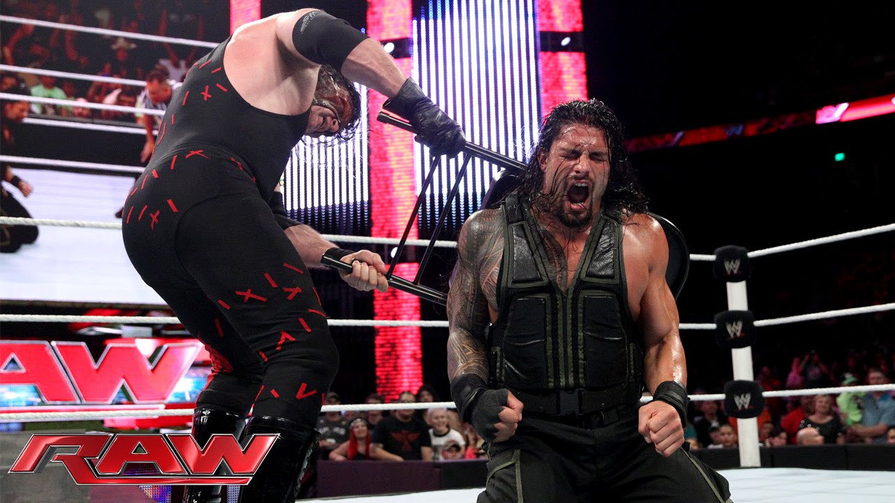 Roman Reigns Vs Kane Last Man Standing Match Raw Aug