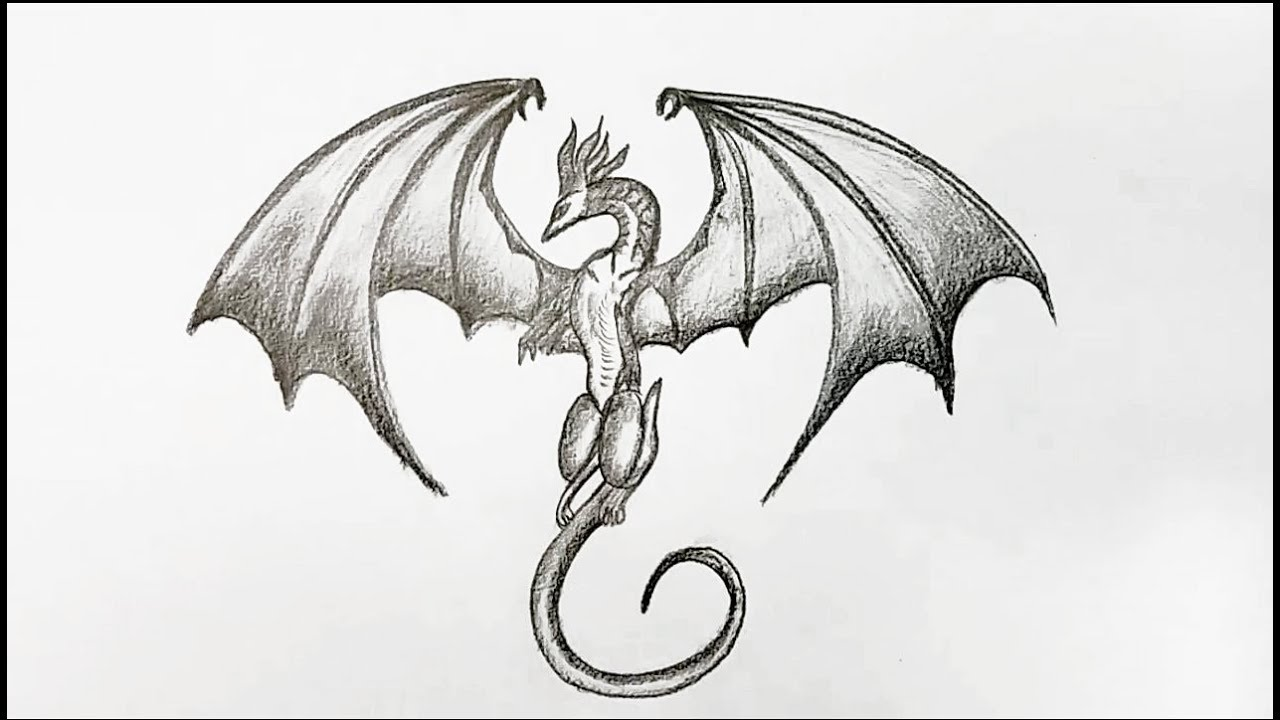 Simple Dragon Drawing: How To Draw Dragon Step By Step