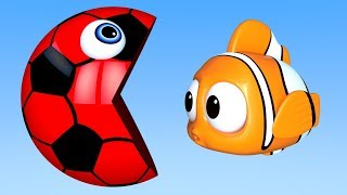 Learn Colors with PACMAN as eat Fish & Soccer Ball on the Sea and slides down a magic slide