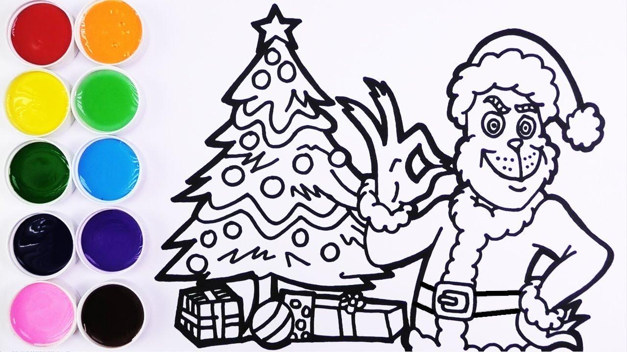 Como Dibujar y Colorear a Grinch y la Navidad   Dibujos Para Niños