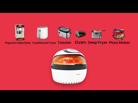 EUROCHEF 10L Electric Digital Air Fryer with Rotisserie, Rotating Fry Basket, Rack and Tongs, White