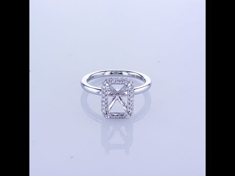 0.36CT 18k White Gold Emerald Cut Double Halo Diamond Engagement Ring