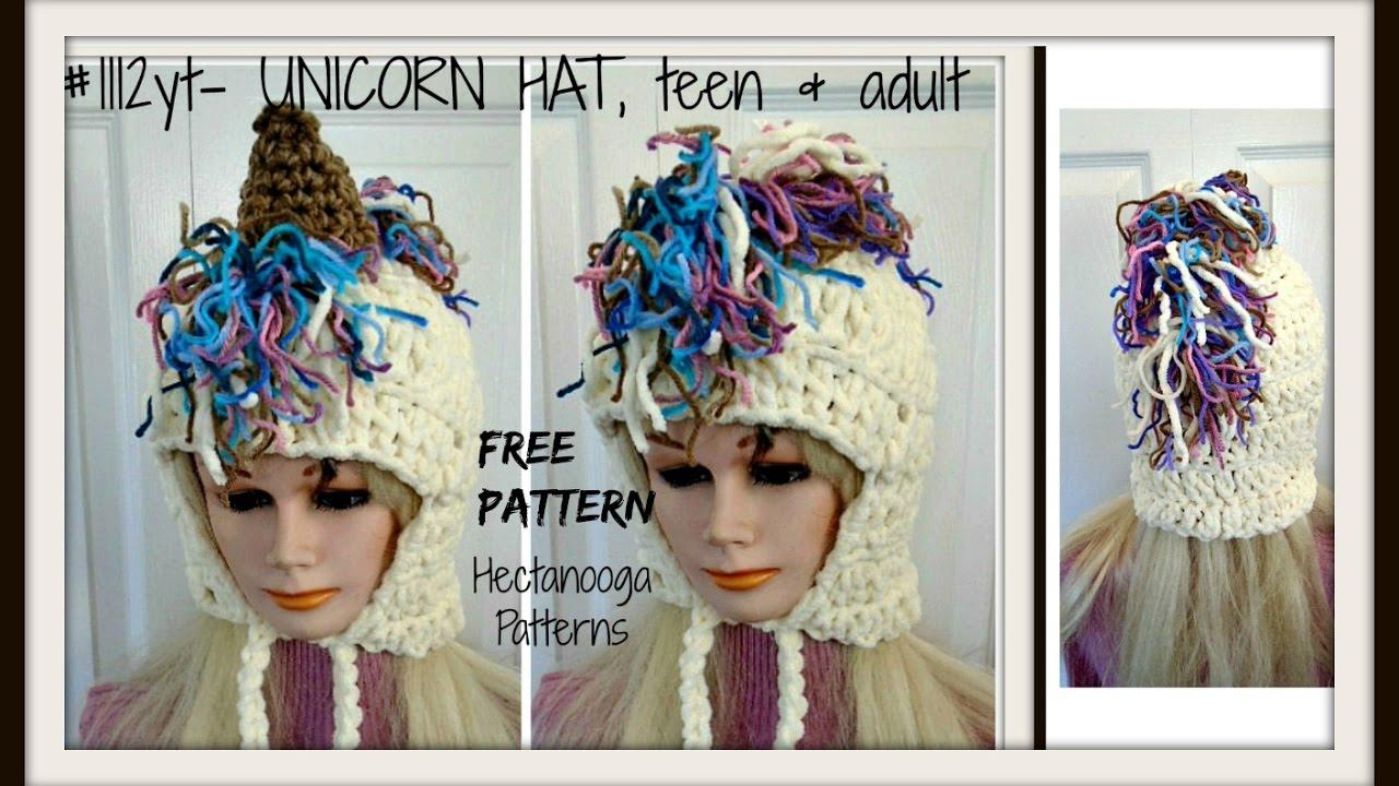 FREE CROCHET PATTERN, Unicorn Hood, Teen and Adult size - YouTube