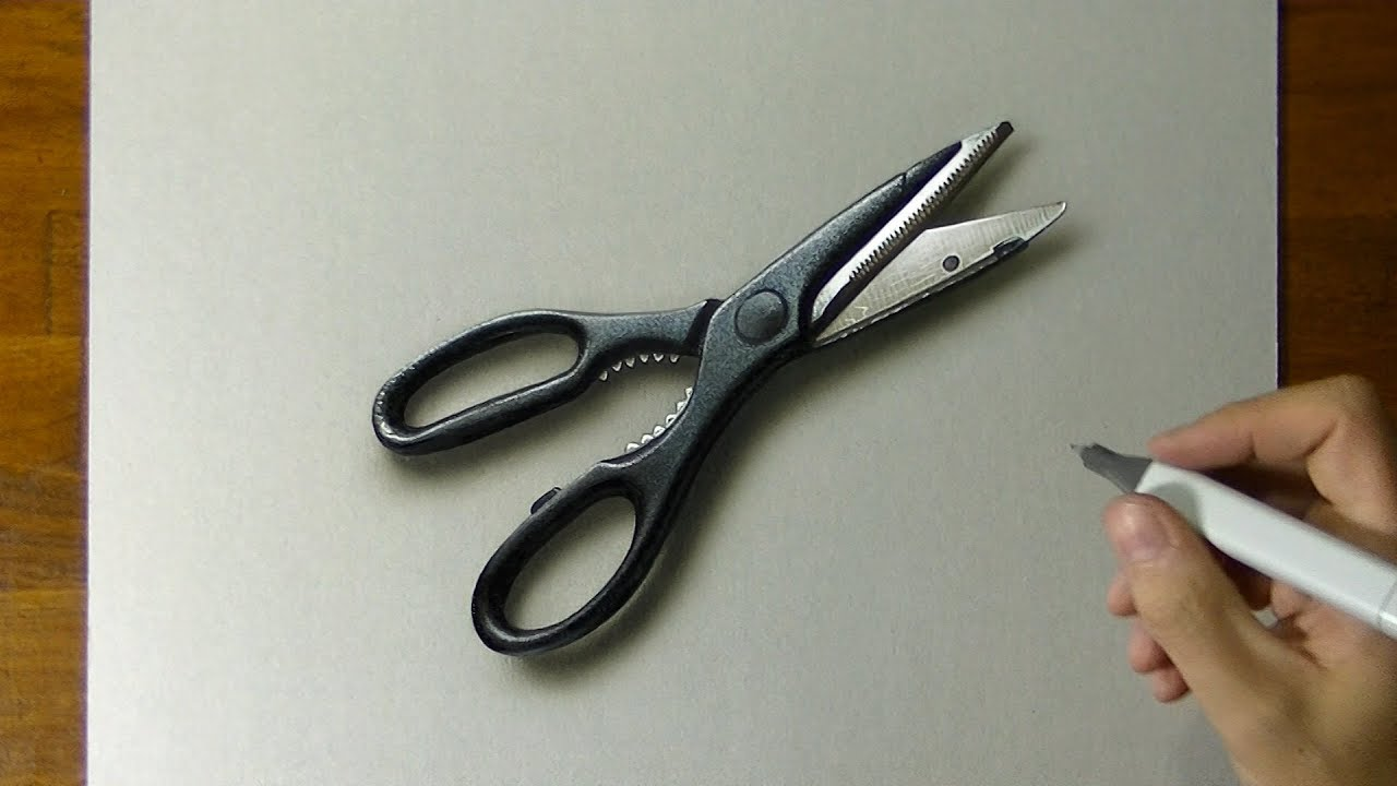 Drawing Scissors - How To Draw 3d Art