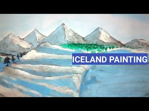 How to draw Iceland with watercolor | landscape Iceland painting tutorial for beginners