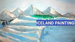 How to draw Iceland with watercolor   landscape Iceland painting tutorial for beginners