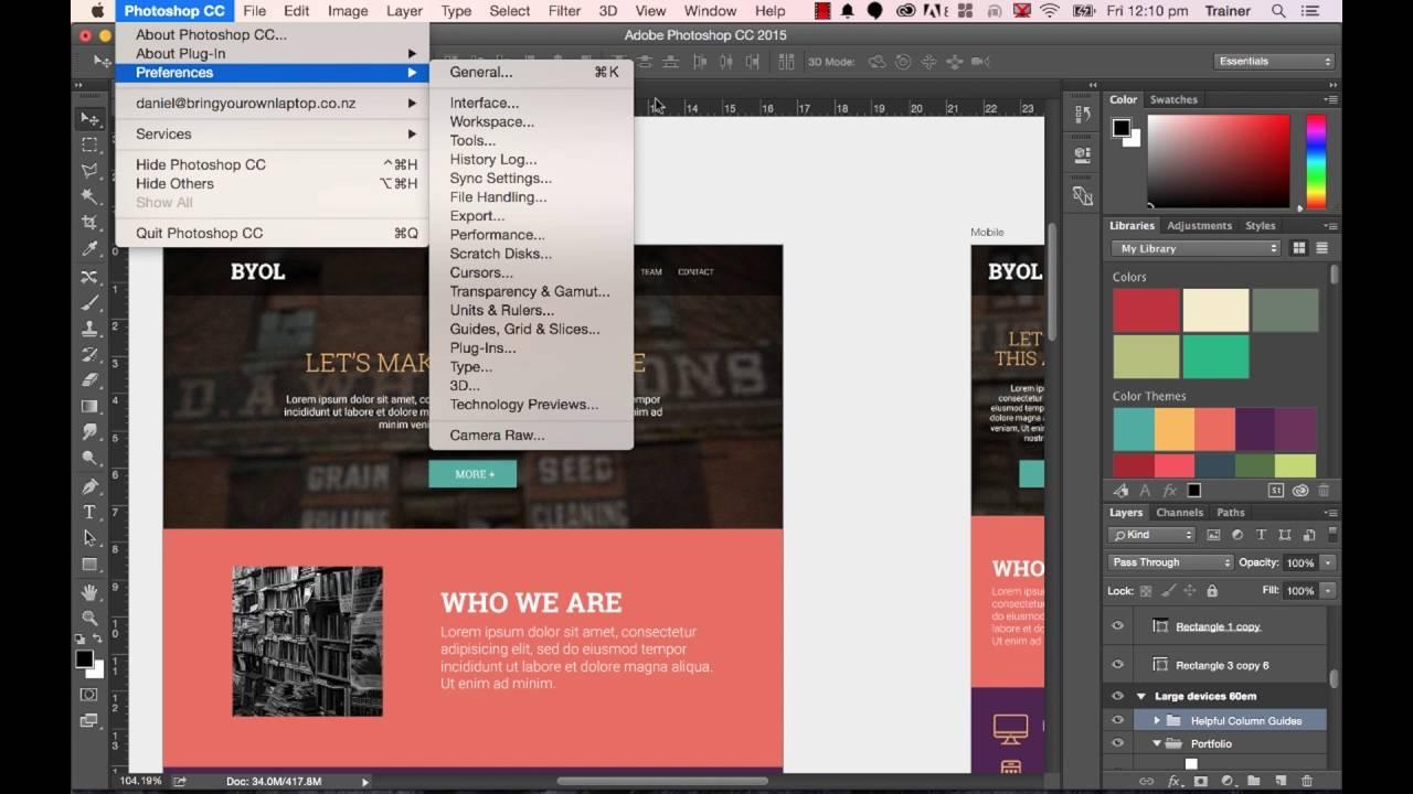Photoshop CC 2015 Tutorial: Photoshop Preferences for Web Design  part 6/48