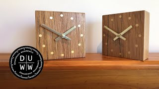 This elegant minimalist mantle clock or desk clock is made from a solid piece of reclaimed hardwood fence post.