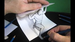 3D Trick Art - How To Draw A Man  - cool and easy draw 3d art on paper