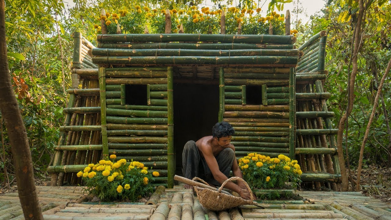 Building the Most Beautiful Bamboo tiny Home Villa by Ancient Skill