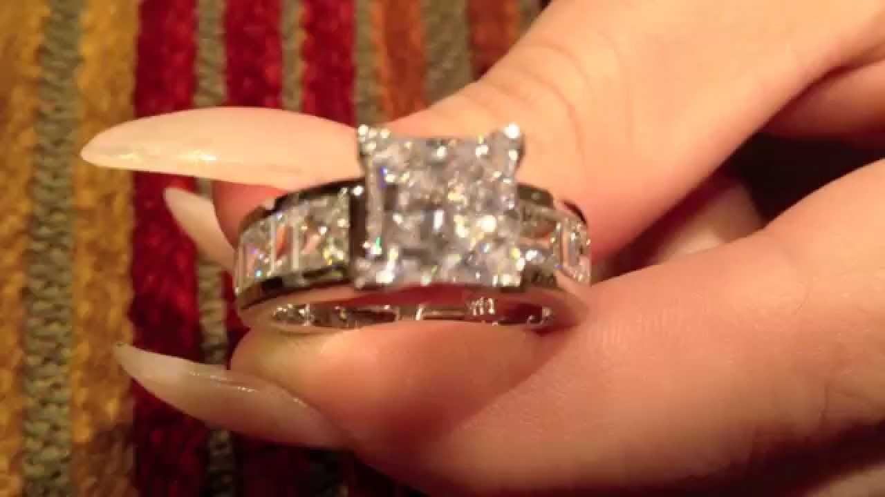 2 Carat Tiffany Style Princess Cut Cz Ring 8394 Youtube