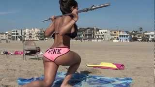 Sexy Bikini Models!! Booty and Abs workout on Beach.