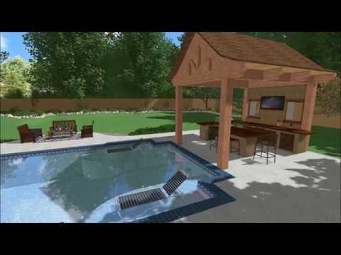 Backyard Pool Jacuzzi Outdoor Kitchen Pavilion 3d Design
