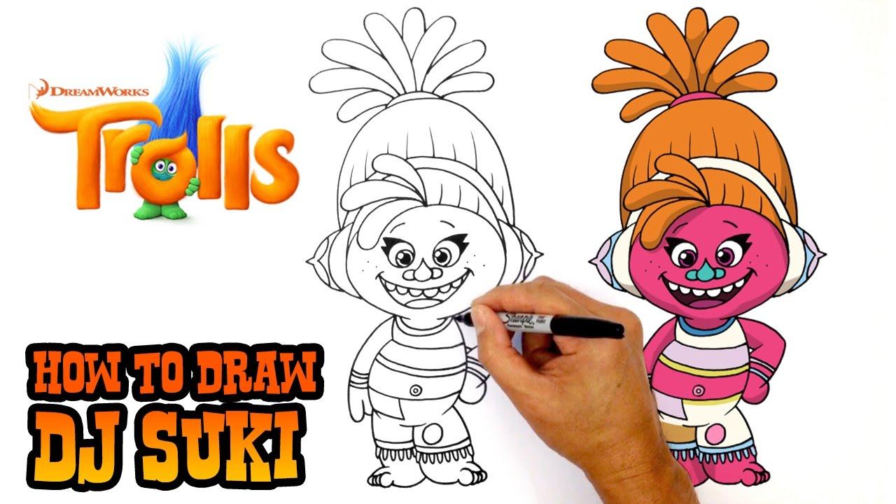 how to draw dj suki trolls