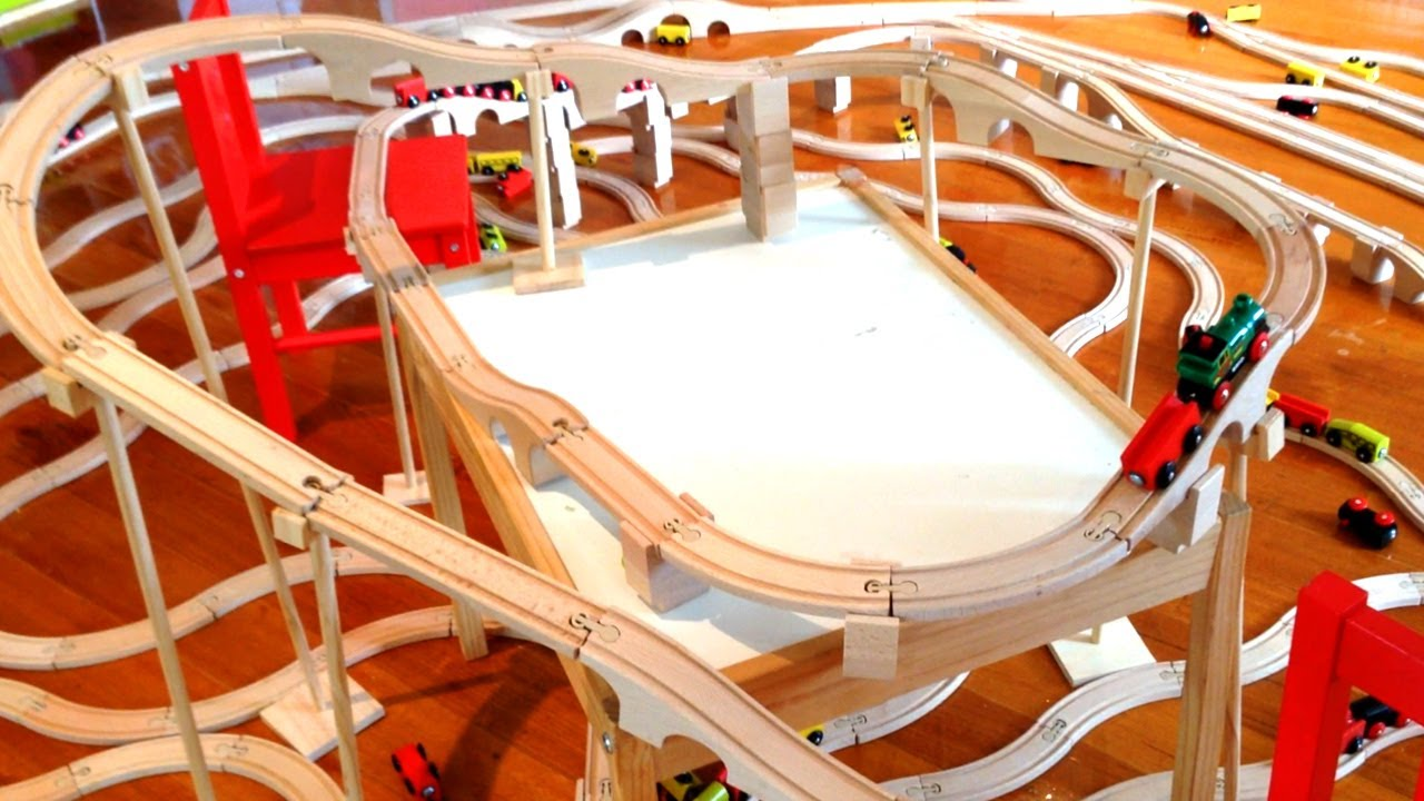 Little Brio Engine Climbing An Ikea Train Track Mountain