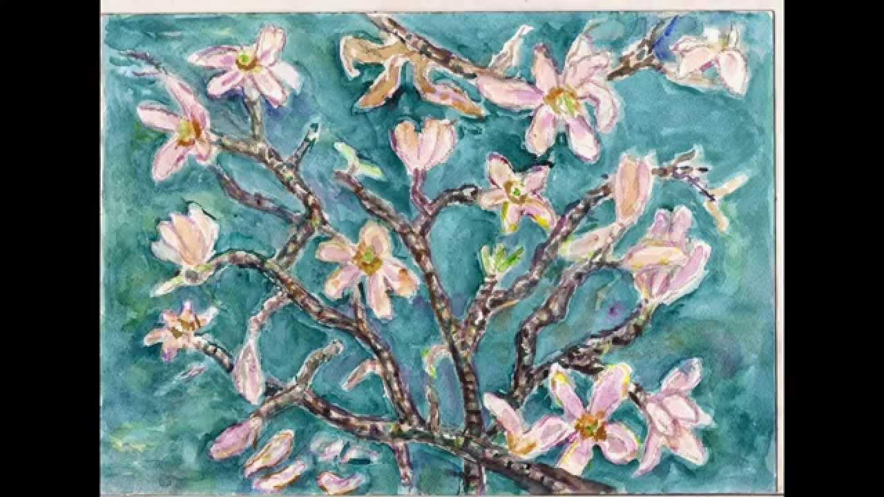 Aquarel Van Magnolia Met Van Gogh Als Inspiratie Youtube