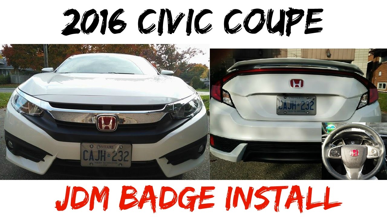 jdm badge install  honda civic coupe youtube