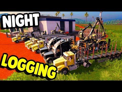 NIGHT LOGGING - BIG CREW & NEW DLC   Farming Simulator 17 Platinum Multiplayer Gameplay