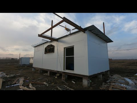 Как я строил дом из сендвич панелей на металлокаркасе /1 Часть Бытовка, Фундамент, и Каркас