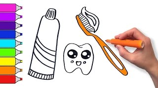 Learn to Draw Cute Toothbrush and Toothpaste | Teach Drawing for Kids and Toddlers Coloring Page