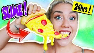 I ATE ONLY SLIME FOR 24 HOURS! EDIBLE CANDY SLIME FOOD 24 CHALLENGE! | NICOLE SKYES