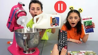Pause Slime Challenge with Our Mom