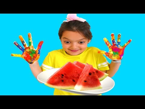 Masal kinetic sand with Toys and Watermelon  & Wash Your Hands, video for kids