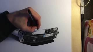 BMW E30 drawing by Erik Dezsanyi