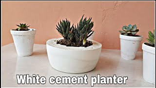 How to make cement pot at home, white cement planter for succulents