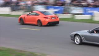 LEXUS RCF DRAG RACE VS AUDI R8 VS PORSCHE VS FERRARI !!!! SPRING EVENT 2018