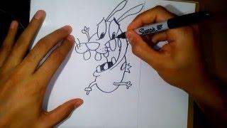 how to draw Courage the Cowardly Dog-como dibujar coraje el perro cobarde 2
